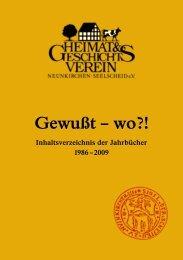 Inhaltsverzeichnis Jahrbücher 1986 bis 2009 - Heimat ...