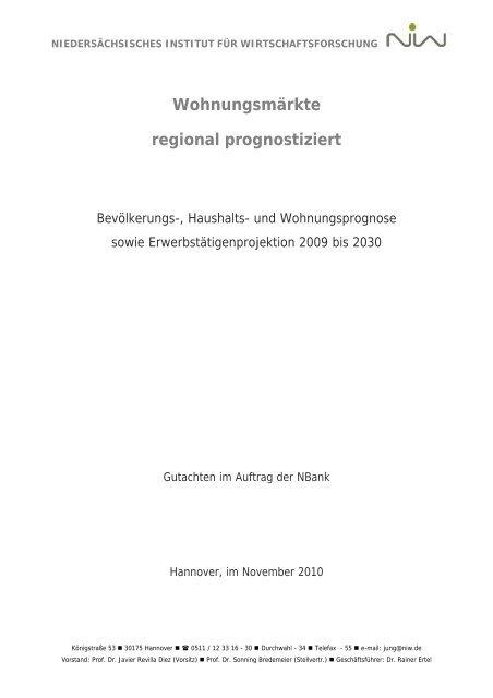 Wohnungsmärkte regional prognostiziert - NIW