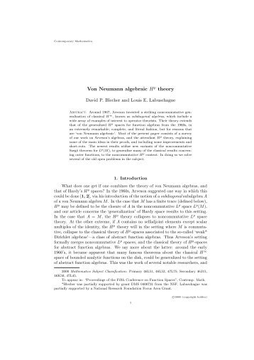 Von Neumann algebraic Hp theory - Department of Mathematics ...
