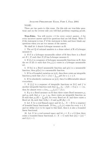 Analysis Preliminary Exam, Part I, Fall 2004 NAME: There are two ...
