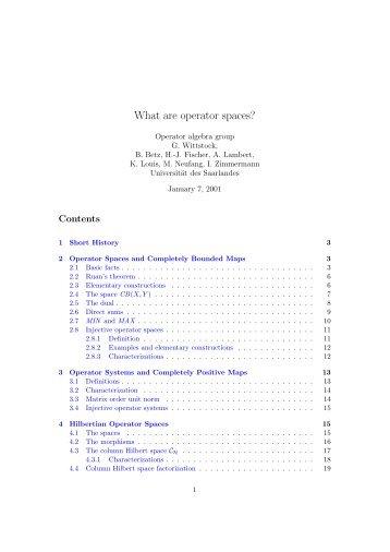 What are operator spaces? - Mathematik - Universität des Saarlandes