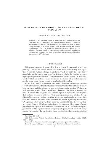 INJECTIVITY AND PROJECTIVITY IN ANALYSIS AND TOPOLOGY ...