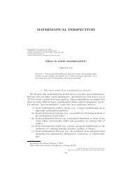 What is good mathematics? - American Mathematical Society