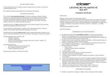 CLO0677 Lietiniu blynu keptuve - UAB Krinona - prekių instrukcijos ...