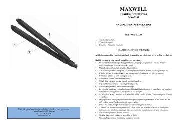 Maxwell MW-2201 Plauku tiesintuvas.pdf - UAB Krinona - prekių ...