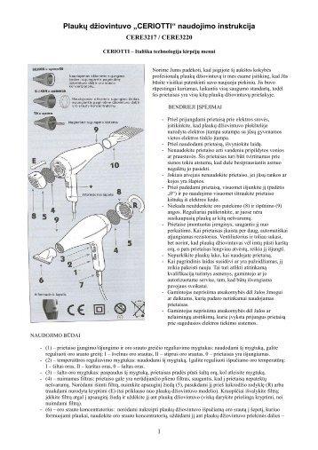 CERE3220 Plauku dziovintuvas.pdf - UAB Krinona - prekių ...