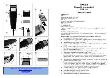 MOSER 1400 Plauku kirpimo masinele.pdf - UAB Krinona - prekių ...
