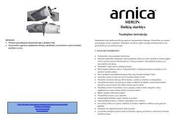 ARNICA Merlin Dulkiu siurblys - UAB Krinona - prekių instrukcijos ...