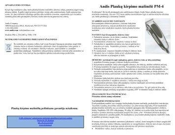PM-4 Plauku kirpimo masinele - UAB Krinona - prekių instrukcijos ...