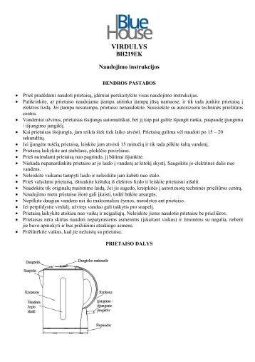 BH219EK Virdulys Blue House - UAB Krinona - prekių instrukcijos ...