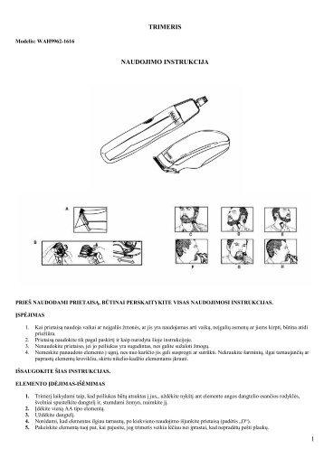 WAH9962-1616 trimeris.pdf - UAB Krinona - prekių instrukcijos ...