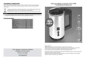 """Pieno putų plakiklis """"Lattemento"""" - UAB Krinona - prekių instrukcijos ..."""