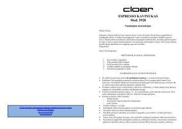 CLO5928 Espresso kavinukas - UAB Krinona - prekių instrukcijos ...