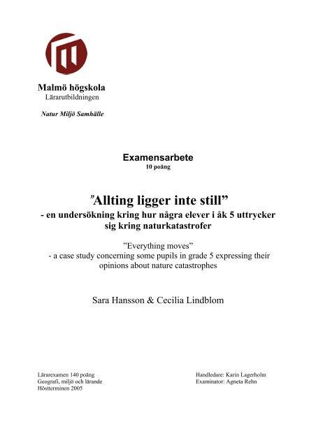Allting Ligger Inte Still Malmo Hogskola