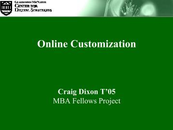 Online Customization - Center for Digital Strategies