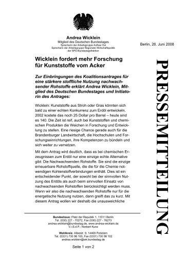 PRESSEMITTEILUNG - Andrea Wicklein