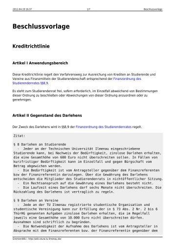 ordnung-arbeitsfassung-kreditrichtlinie des studierendenrates