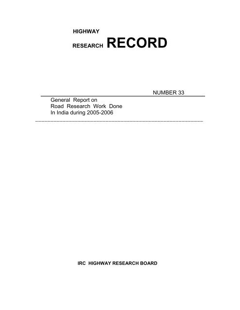 Highway Research Record No  33 - Indian Roads Congress