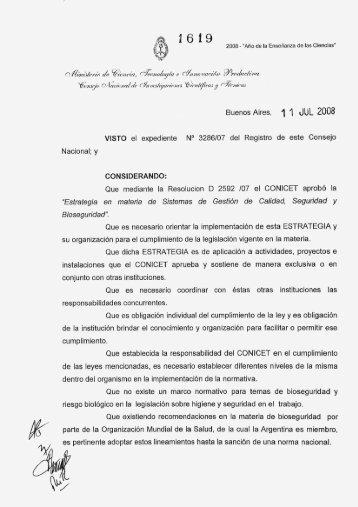 Resolución CONICET 1619/08 - Mendoza CONICET