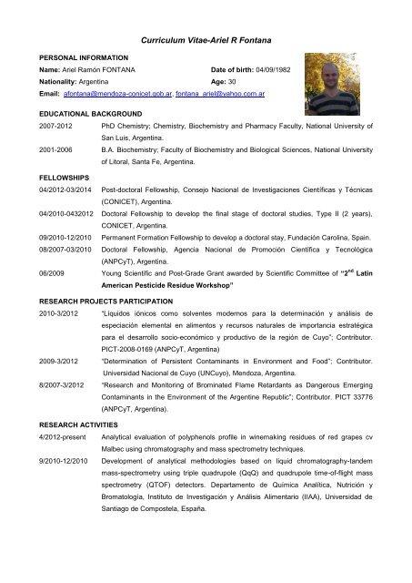 Curriculum Vitae Ariel R Fontana
