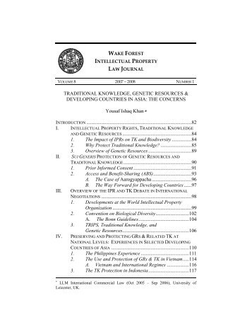 8 Wake Forest Intell. Prop. L.J. 81 - Journal of Business & Intellectual ...