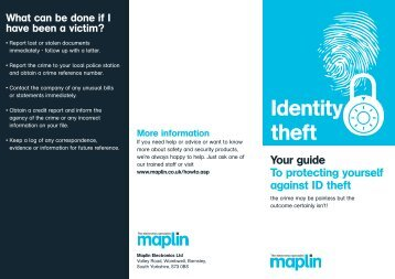 Identity theft - Maplin Electronics