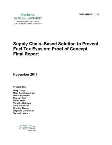 Supply Chain-Based Solution to Prevent Fuel-Tax Evasion: Proof of ...