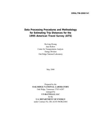 Data processing Procedures and methodology for Estimating Trip ...