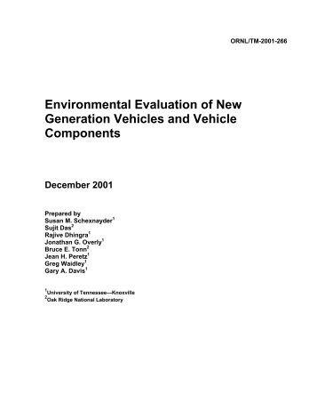 Environmental Evaluation of New Generation Vehicles and Vehicle ...