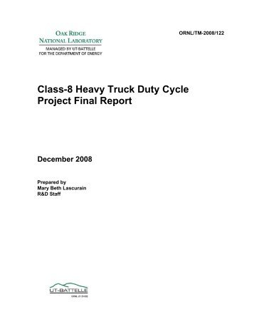 Class-8 Heavy Truck Duty Cycle Project Final Report - Center for ...
