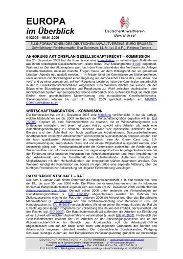 Europa im Überblick, 01/2006 - Deutscher Anwaltverein