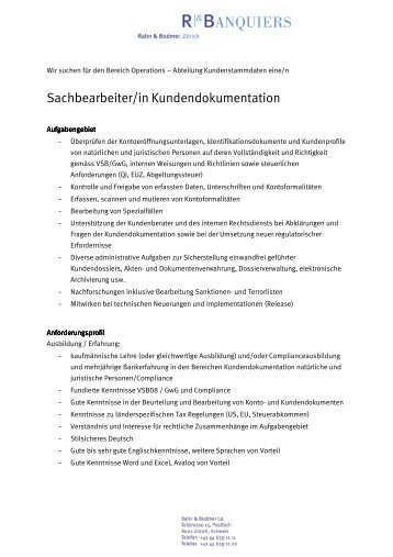 Stelleninserat Kundendokumentation - Rahn & Bodmer Banquiers