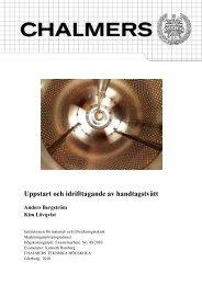 Uppstart och idrifttagande av handtagstvätt - Chalmers tekniska ...