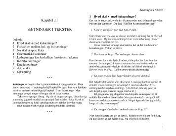 Kapitel 11 SÆTNINGER I TEKSTER - Emu