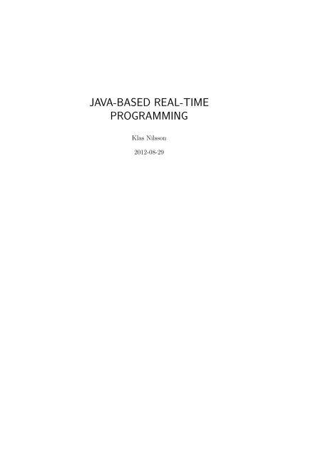 JAVA-BASED REAL-TIME PROGRAMMING