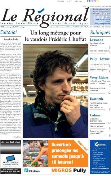 Un long métrage pour le vaudois Frédéric Choffat