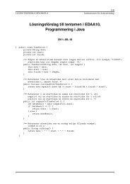 Lösningsförslag till tentamen i EDAA10, Programmering i Java