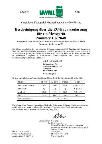 Bescheinigung über die EG-Bauartzulassung für ein Messgerät ...