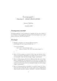 ¨Ovningsuppgift 1 Datalogi I – 2I1027/2I1035/2I1046