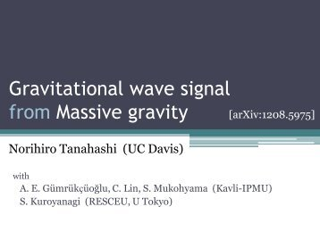 Gravitational wave signal from Massive gravity - Berkeley ...