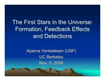 The First Stars in the Universe - Berkeley Cosmology Group