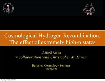Cosmological recombination: the effect of high-n states - Berkeley ...