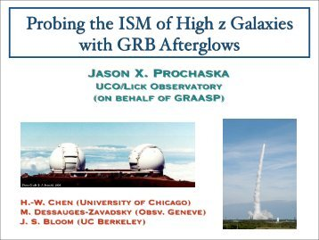 Probing the ISM of High z Galaxies with GRB Afterglows - Berkeley ...