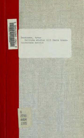 Kritiska studier till Kants transcendentala ästetik