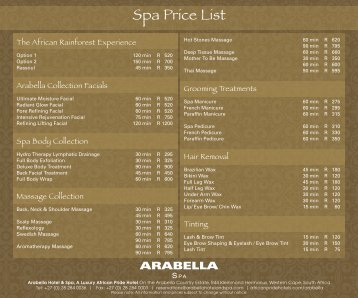 Spa Price List - African Pride Hotels