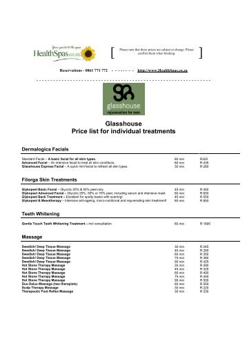 Glasshouse Price list for individual treatments - Health Spas Guide
