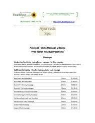 & Ayurveda Holistic Massage Beauty Price list for individual treatments