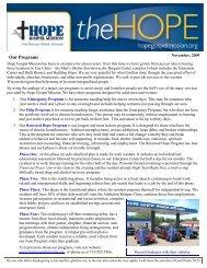 newsletter November 2009 - Hope Gospel Mission