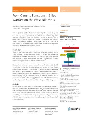 In Silico Warfare on the West Nile Virus - Accelrys