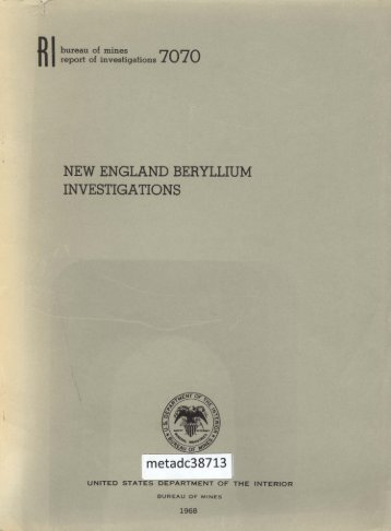 NEW ENGLAND BERYLLIUM INVESTIGATIONS - UNT Digital Library